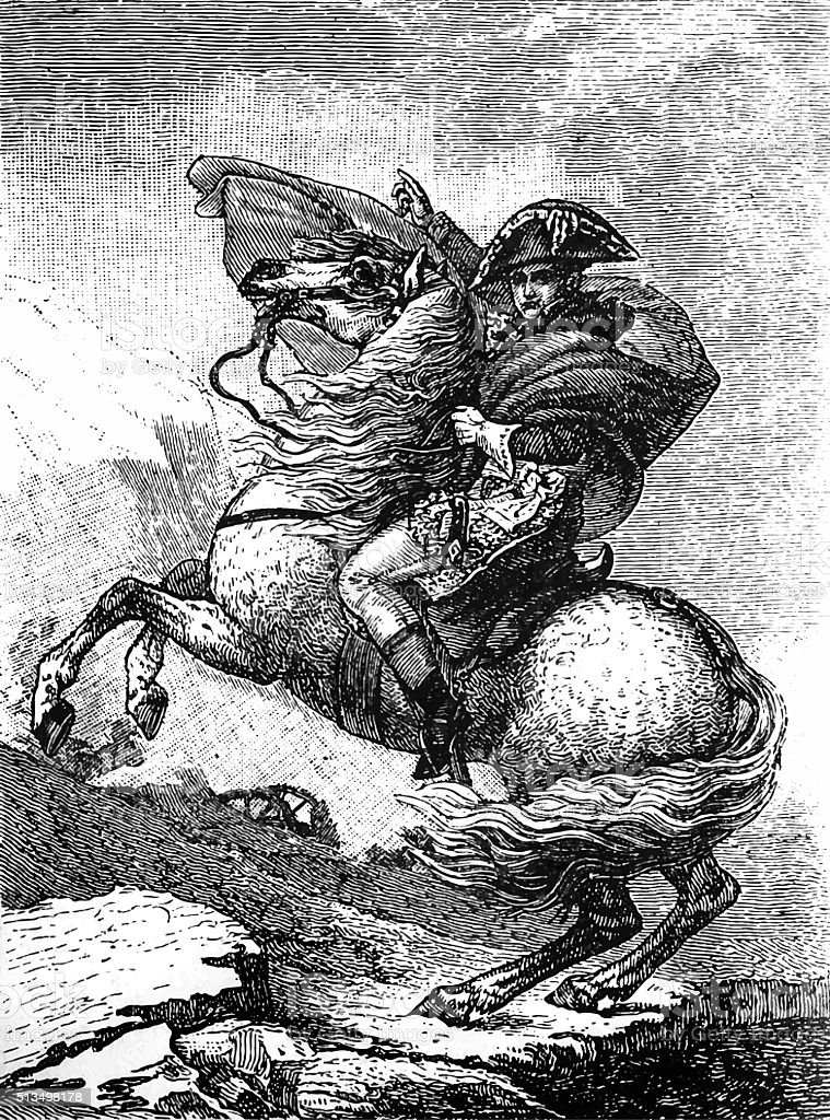 Napoleon Bonaparte riding a horse vector art illustration