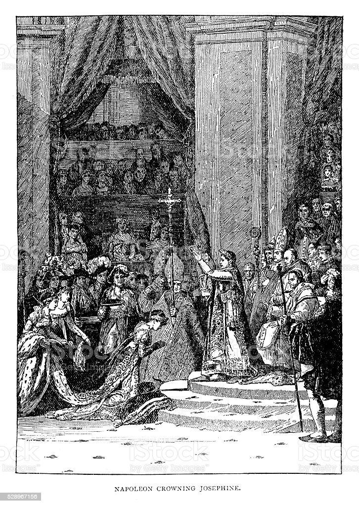 Napoleon Crowning Josephine vector art illustration