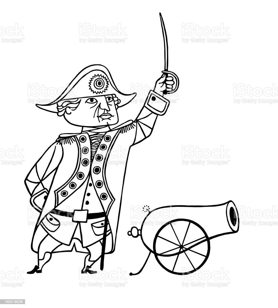 Napoleon Firing a Cannon royalty-free stock vector art
