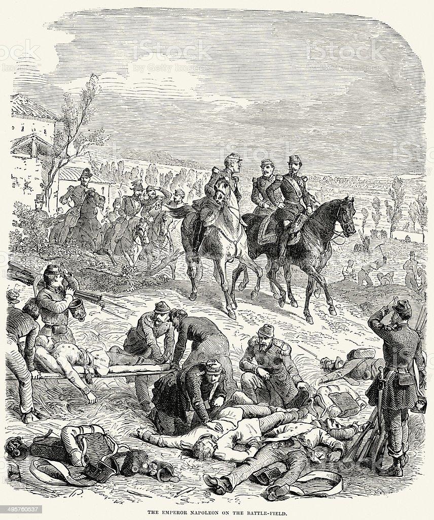 Napoleon III on the Battlefield vector art illustration