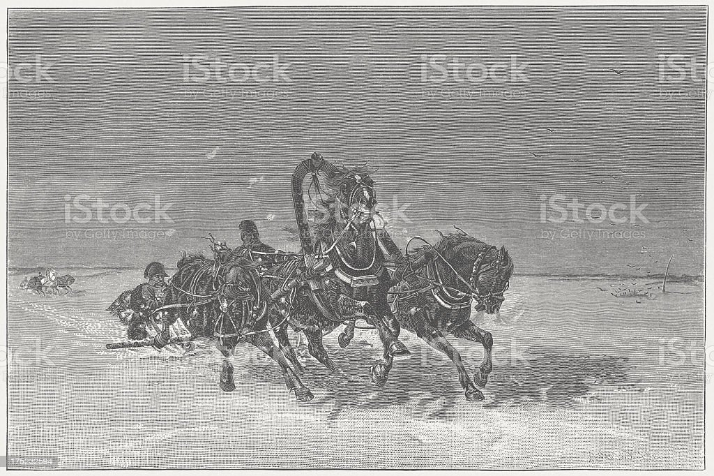 Napoleon's return from Russia in 1812, wood engraving, published 1882 royalty-free stock vector art