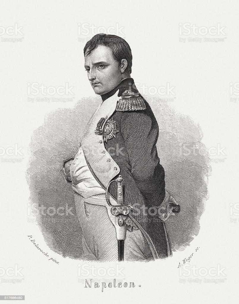Napoléon Bonaparte (1769-1821), steel engraving, published in 1868 vector art illustration