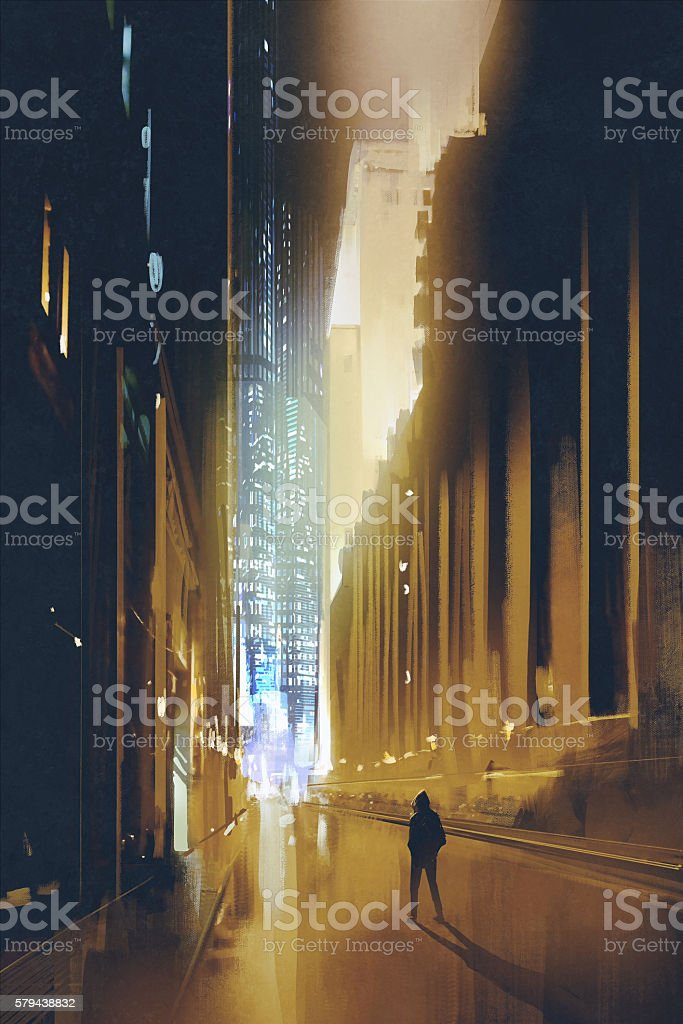 narrow street at night,painting vector art illustration