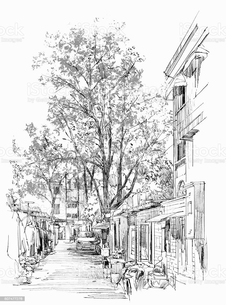 narrow street with old buildings in China vector art illustration