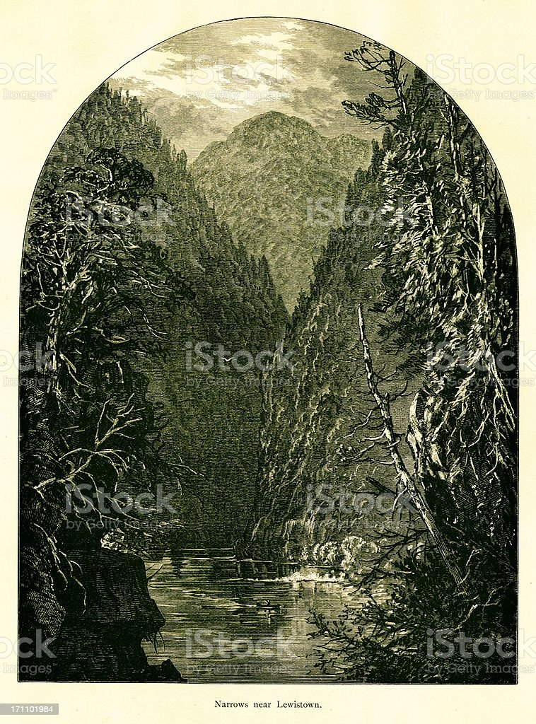 Narrows near Lewistown, Pennsylvania royalty-free stock vector art
