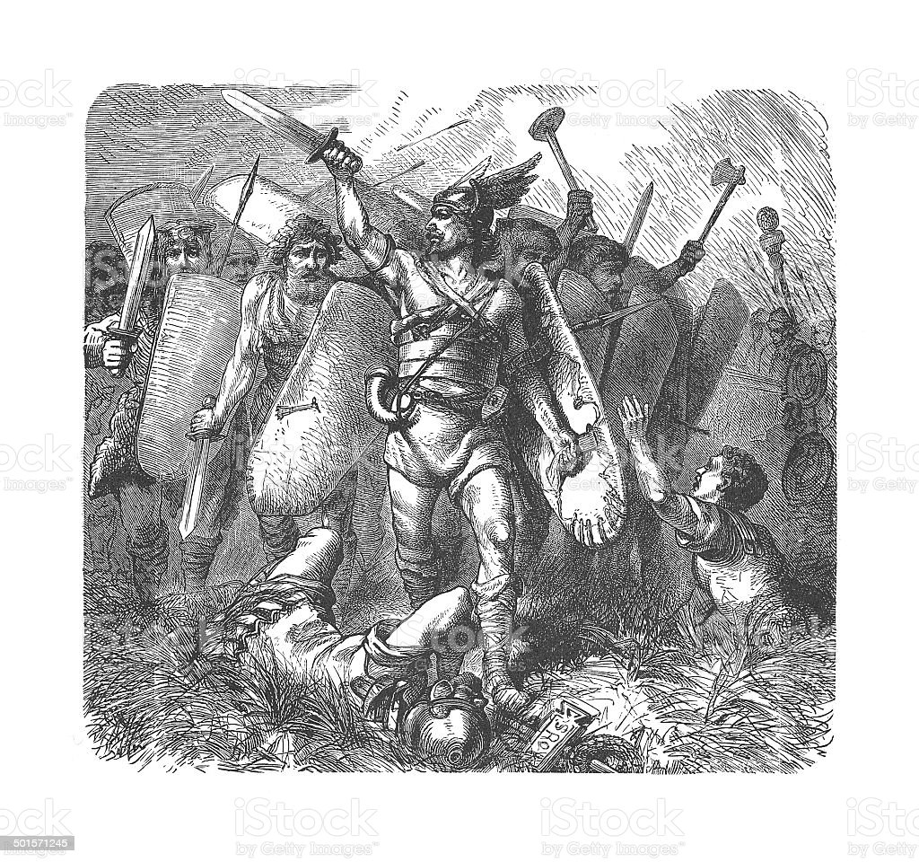 Narses overcomes the Ostrogoths (antique engraving) vector art illustration