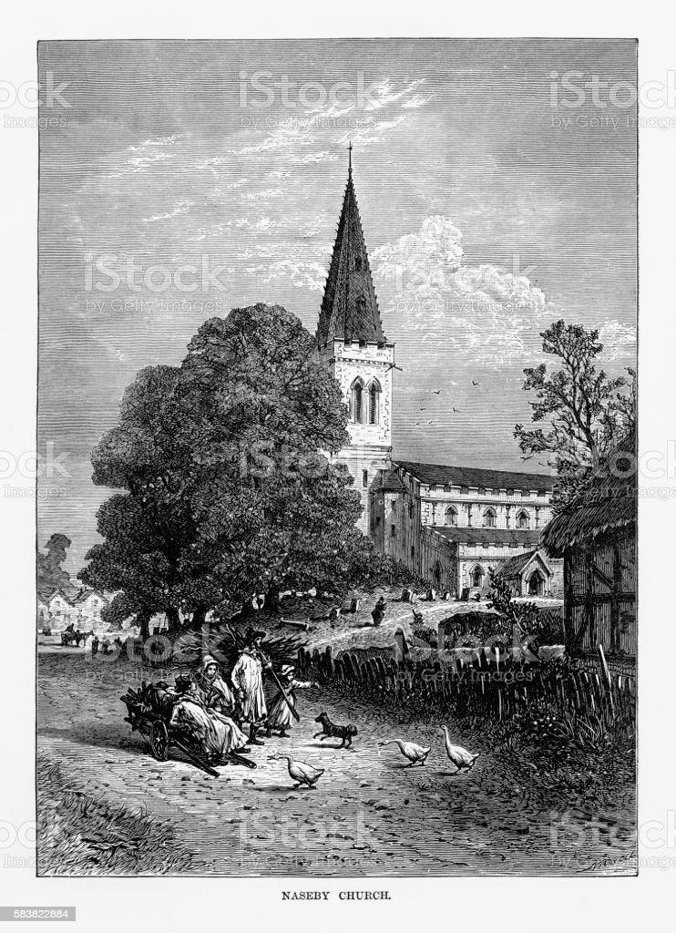 Naseby Church in Naseby, England Victorian Engraving, Circa 1840 vector art illustration