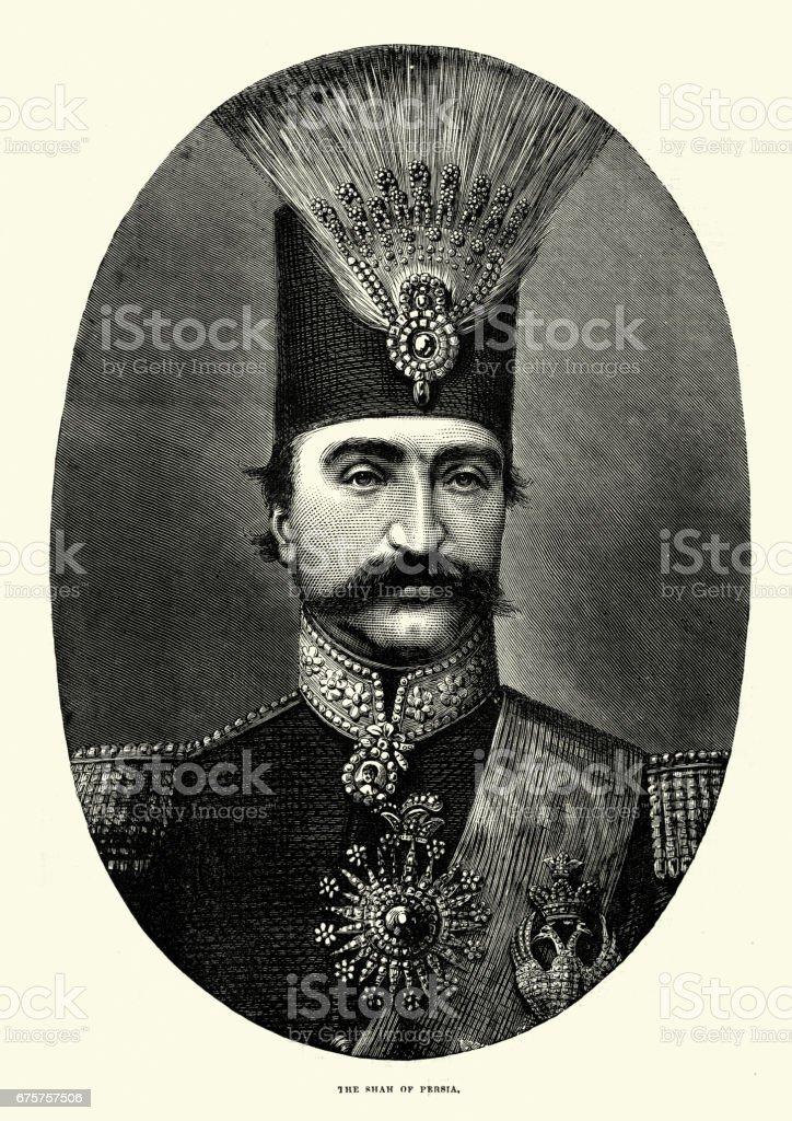 Naser al-Din Shah Qajar, Shah of Persia, 1870 vector art illustration