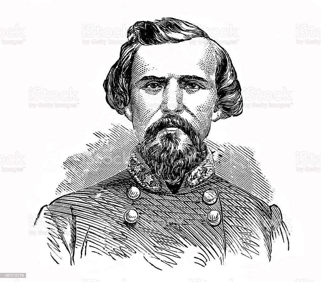 Nathan B.Forrest,Confederate Army. royalty-free stock vector art