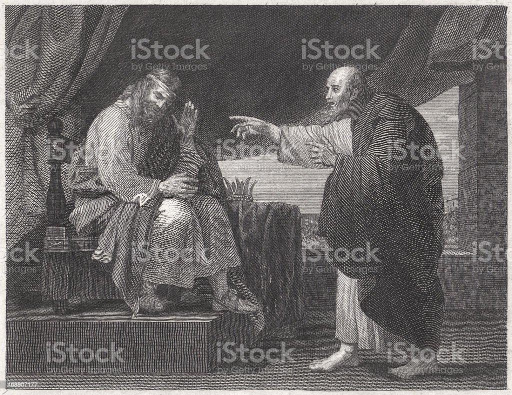 Nathan the Prophet Confronts David (2 Samuel 12), published 1836 vector art illustration