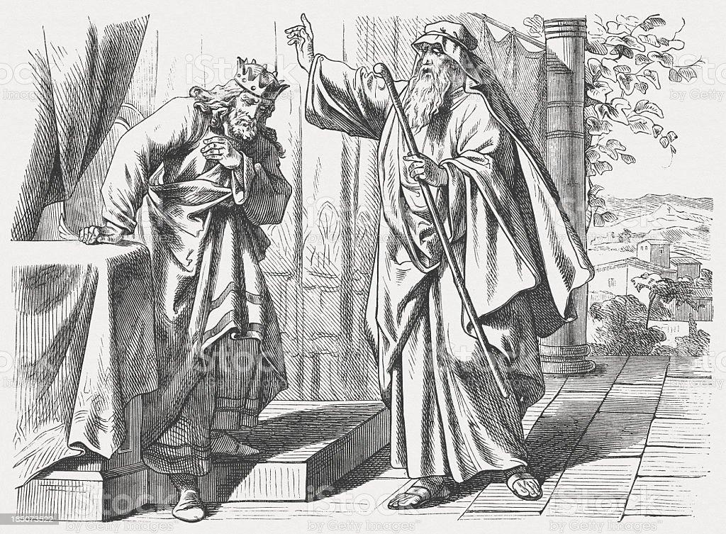 Nathan the Prophet Confronts David (2 Samuel 12), published 1877 vector art illustration