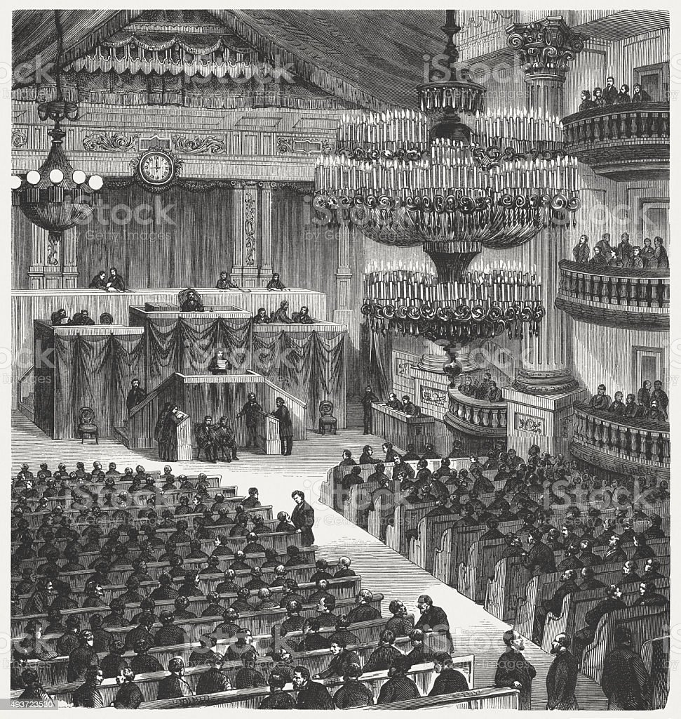 National Assembly of France in Bordeaux on February 12, 1871 vector art illustration