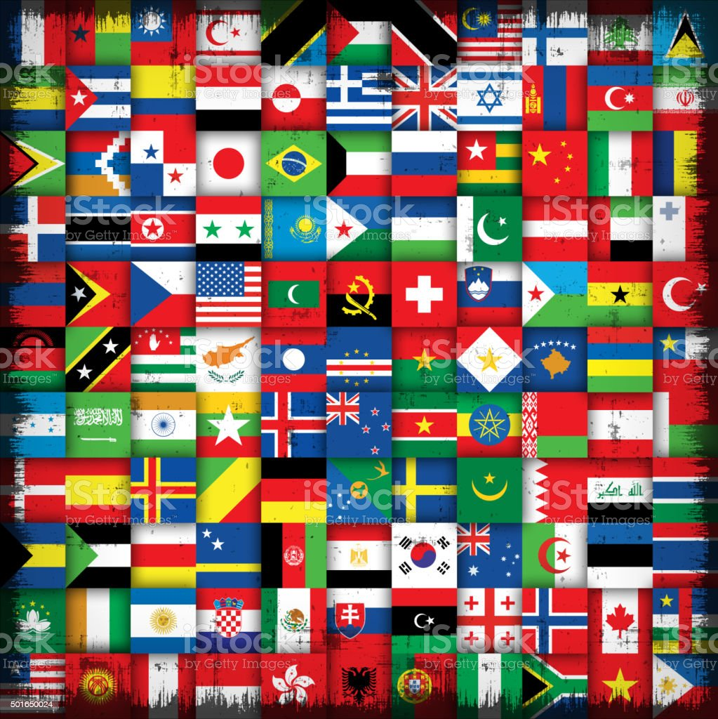 national flags background vector art illustration
