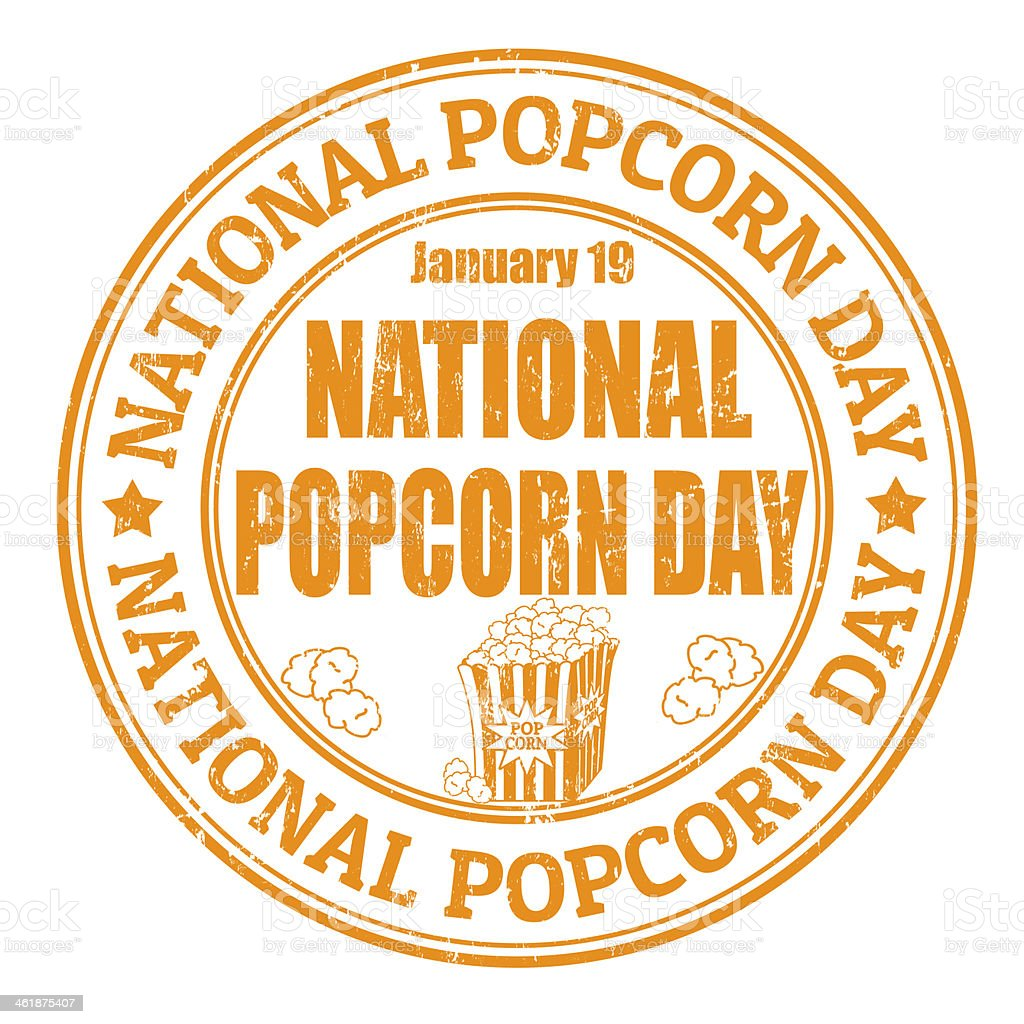 National popcorn day stamp vector art illustration