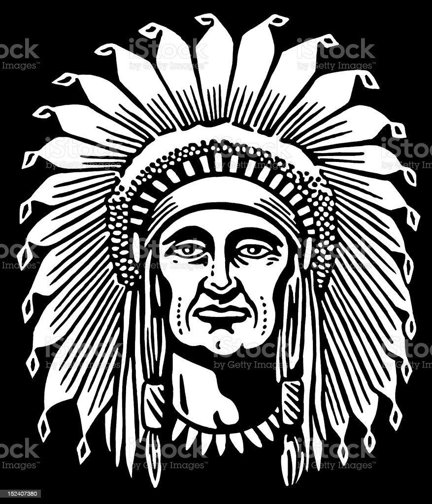 Native American Chief vector art illustration