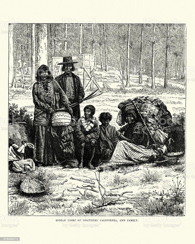 Native American Chief of Northern California vector art illustration