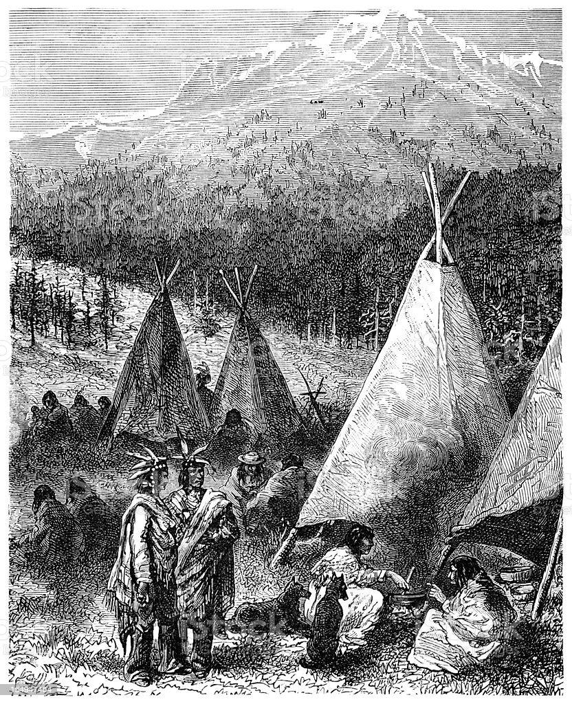 Native American encampment (1882 engraving) royalty-free stock vector art