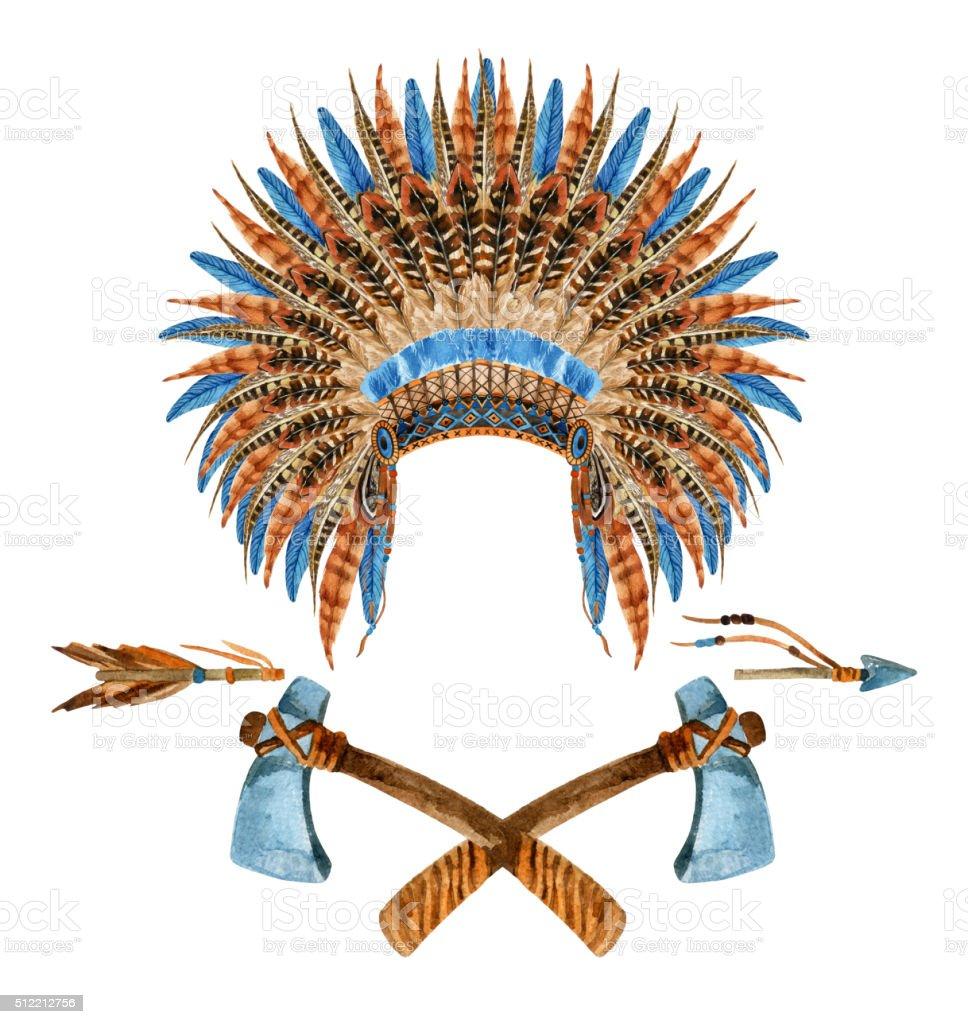 Native American Headdresses vector art illustration