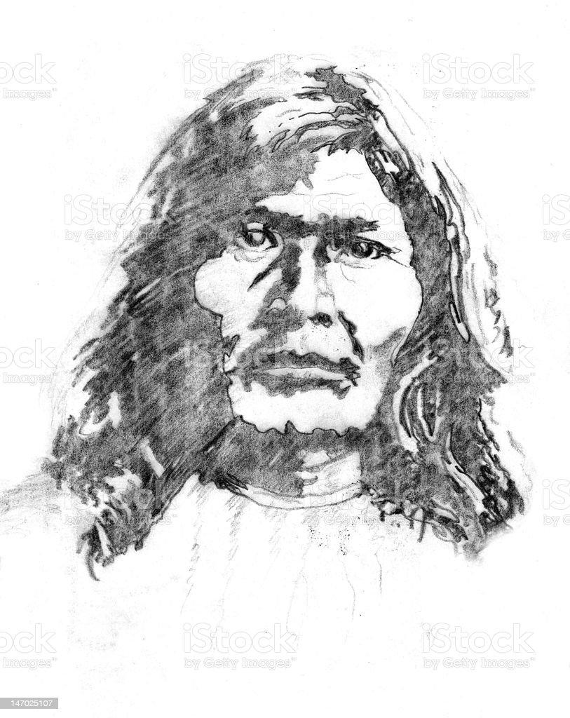 Native American vector art illustration