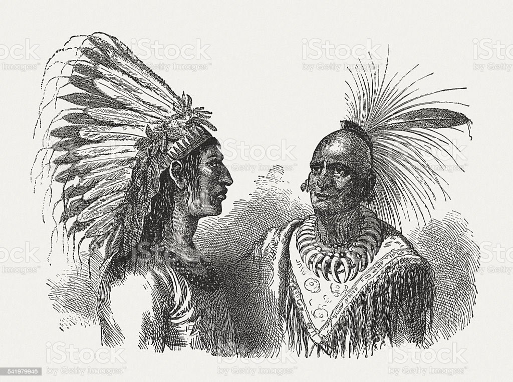 Native American Indian Chiefs, wood engraving, published in 1884 vector art illustration