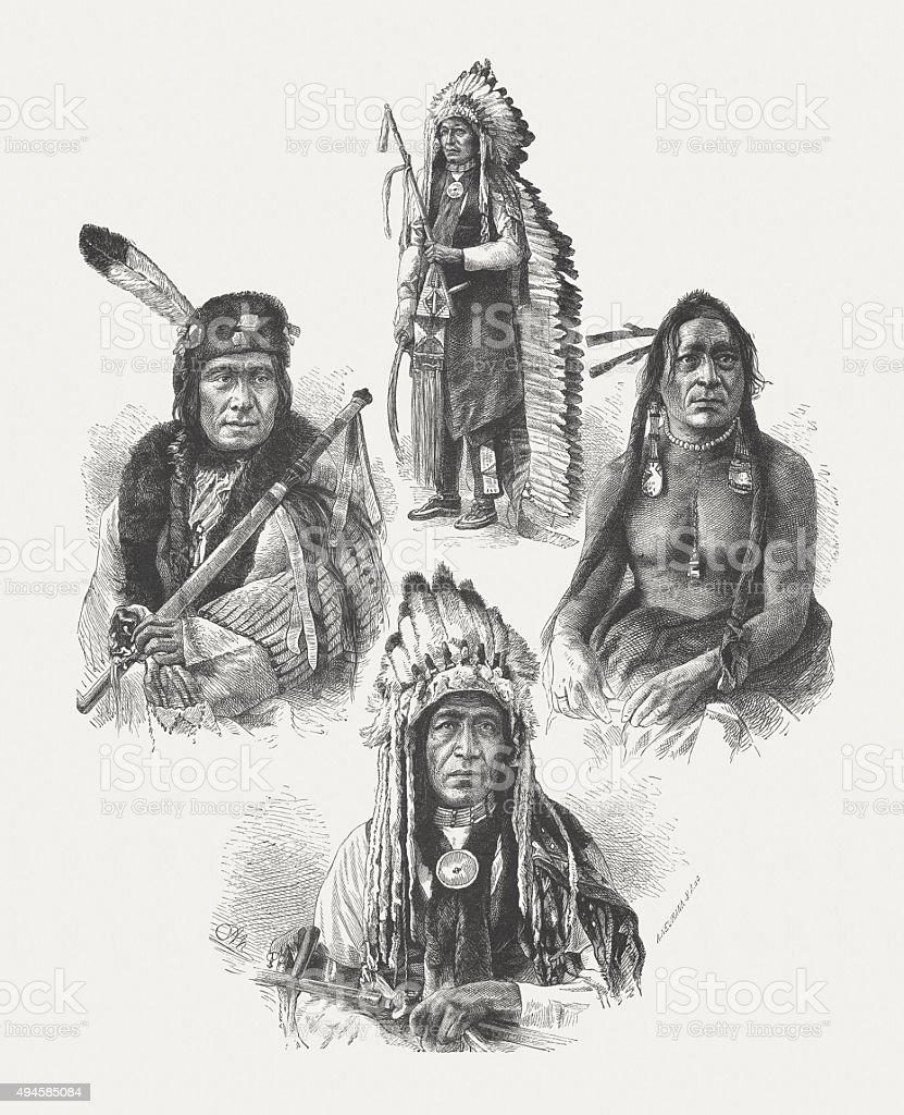 Native American leaders, after photographs by Alexander Gardner, published 1874 vector art illustration