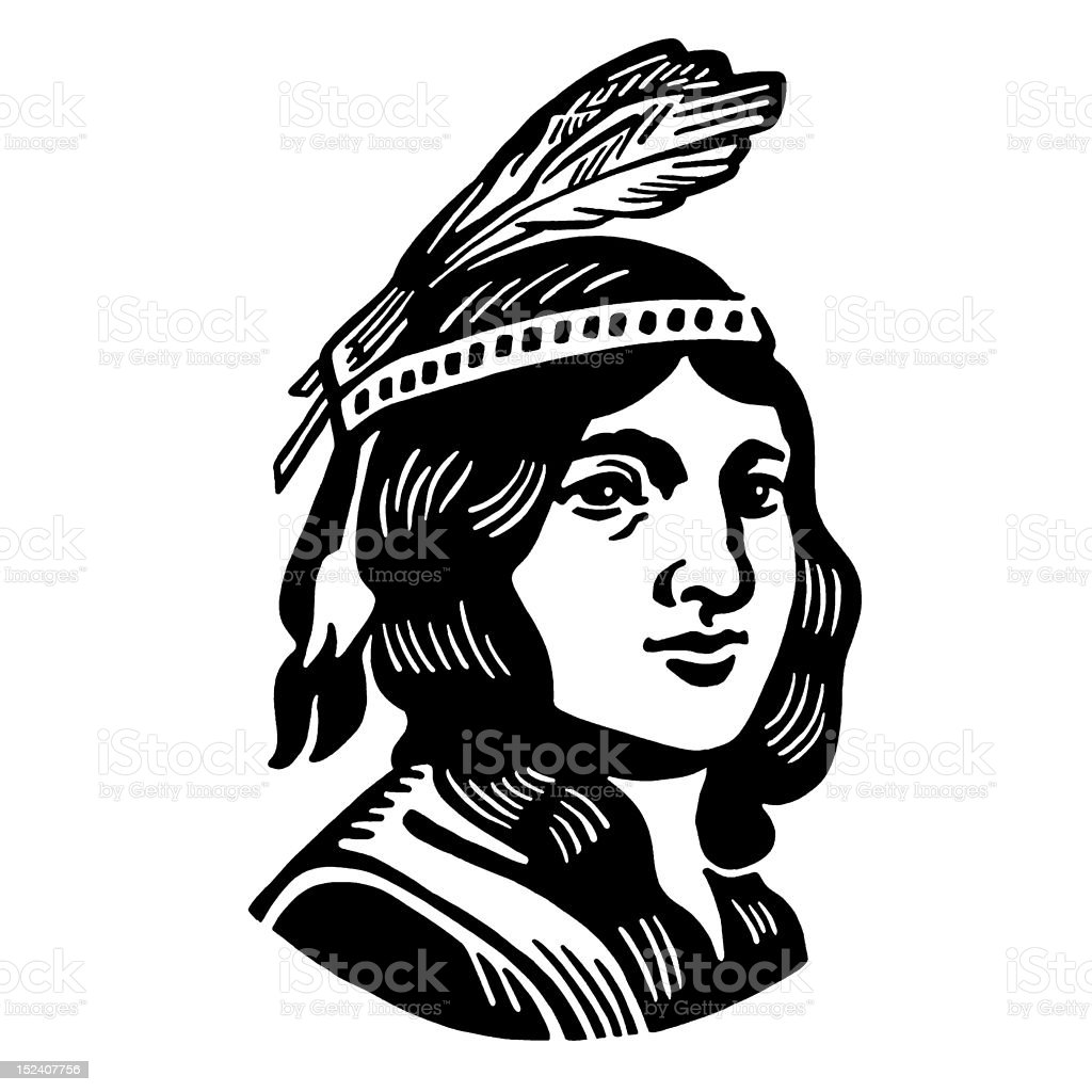 Native American Man vector art illustration