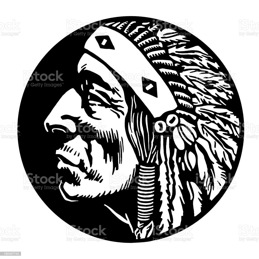Native American Man Profile vector art illustration