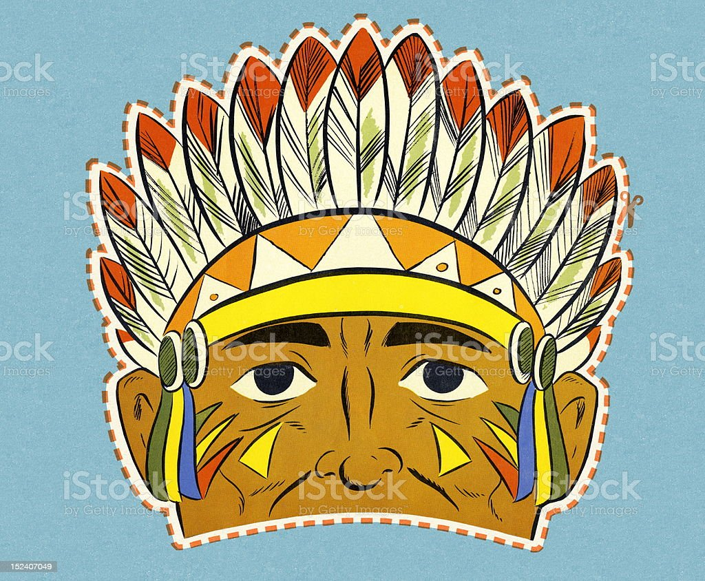 Native American Mask vector art illustration