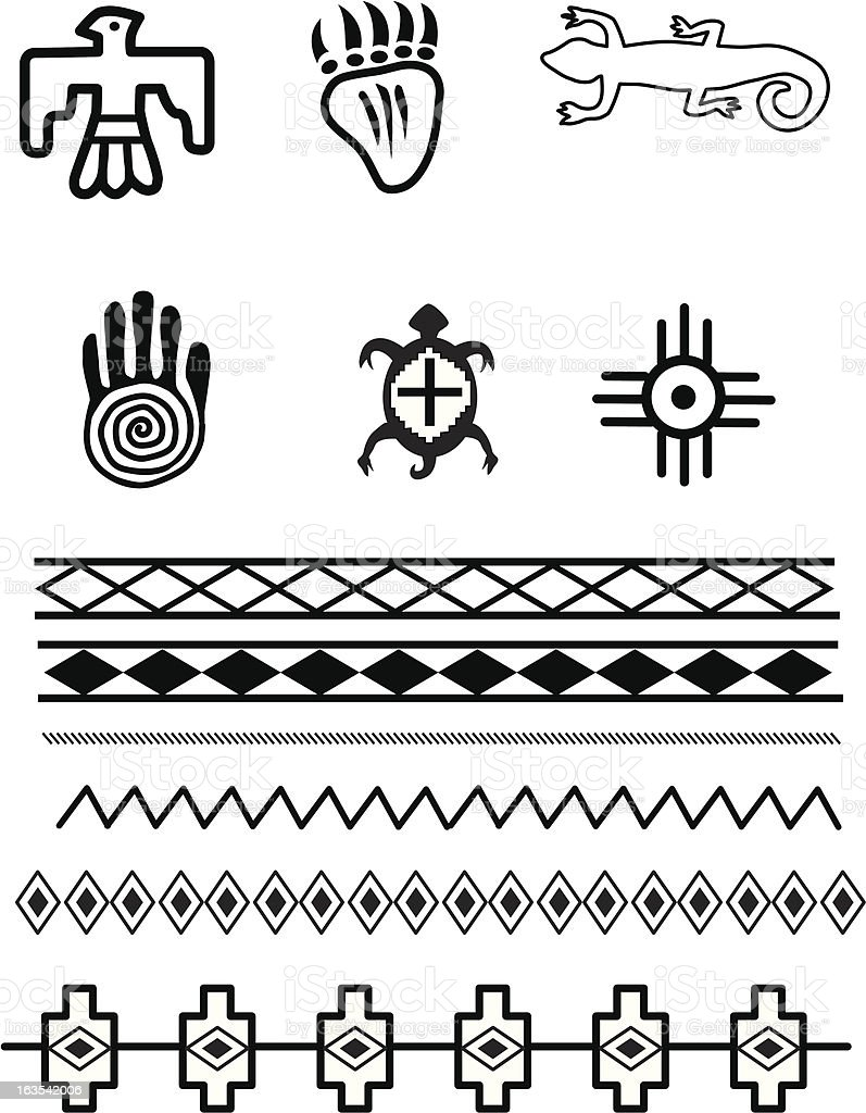 Native American Symbols vector art illustration