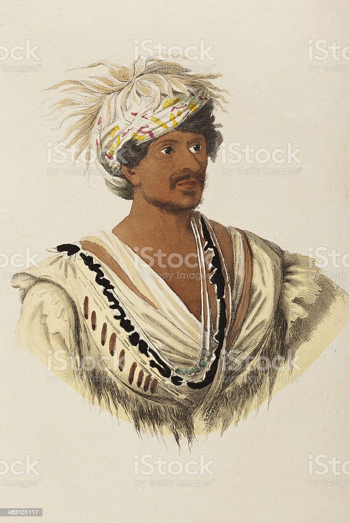 Native american tribal chief from 1849 vector art illustration