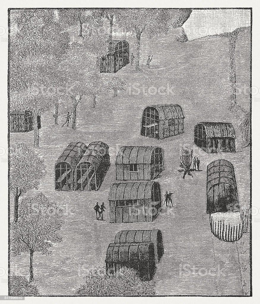 Native American Village of Secotan in Roanoke, published 1884 vector art illustration