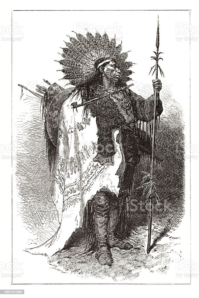 Native american wampanoag tribal chief from 1877 vector art illustration