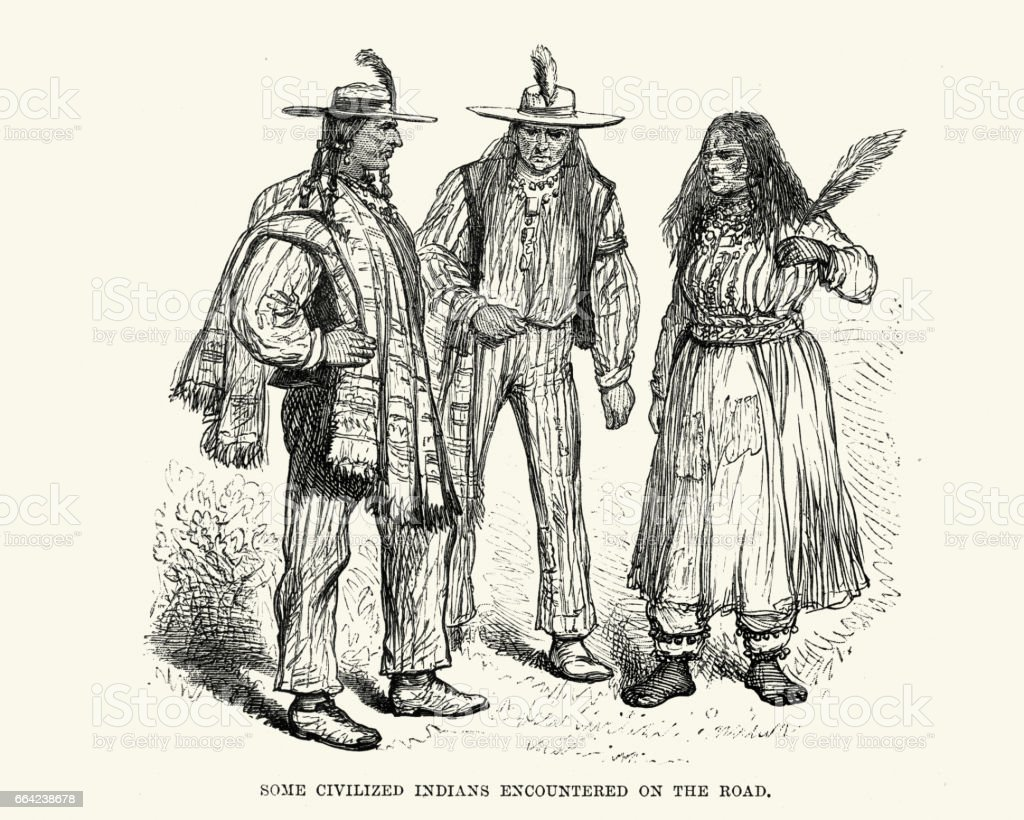 Native Americans, Nebraska 19th Century vector art illustration