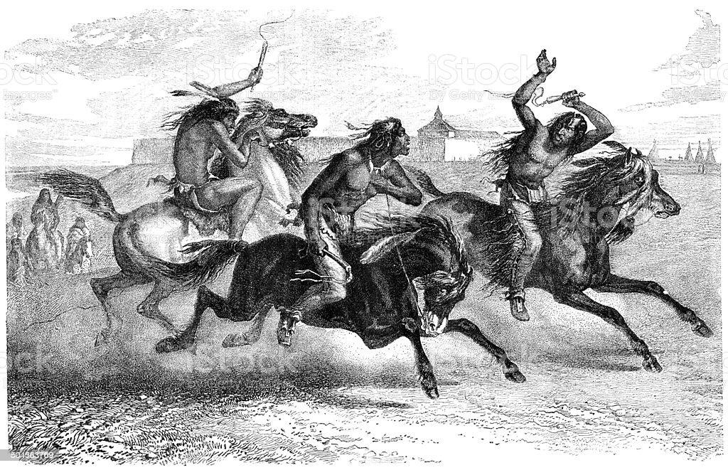 Native americans riding horses vector art illustration