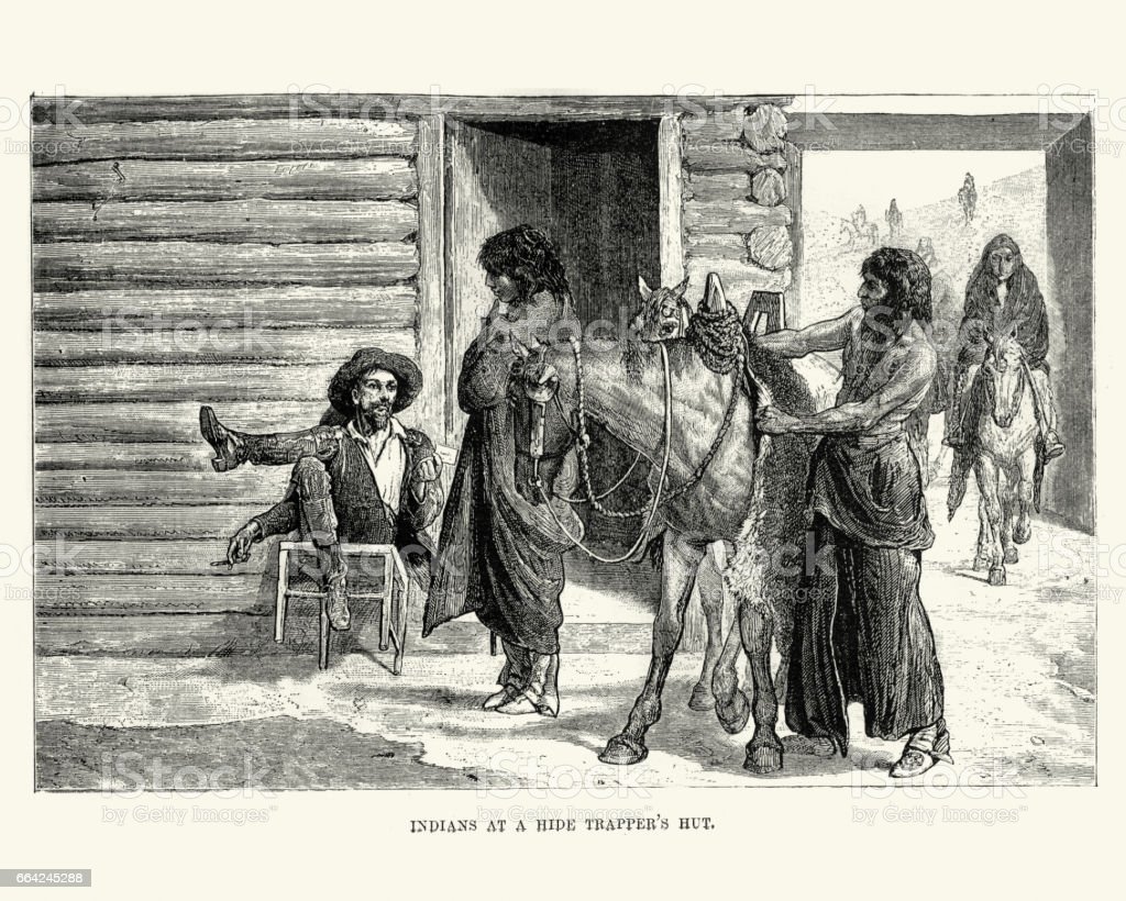 Native Americans trading at a hide trappers hut, 19th Century vector art illustration
