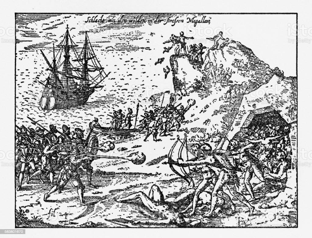 Native Indians Fighting Van Noort, Engraving of 1599 vector art illustration