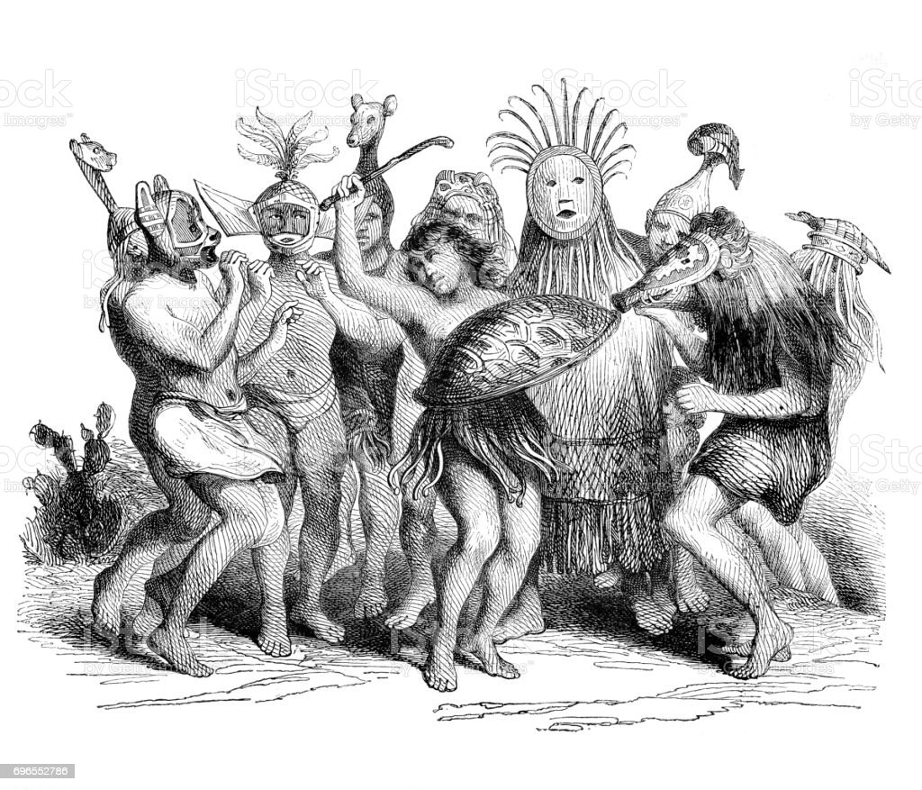 Native indigenes of the Para province in Brazil dancing with masks vector art illustration