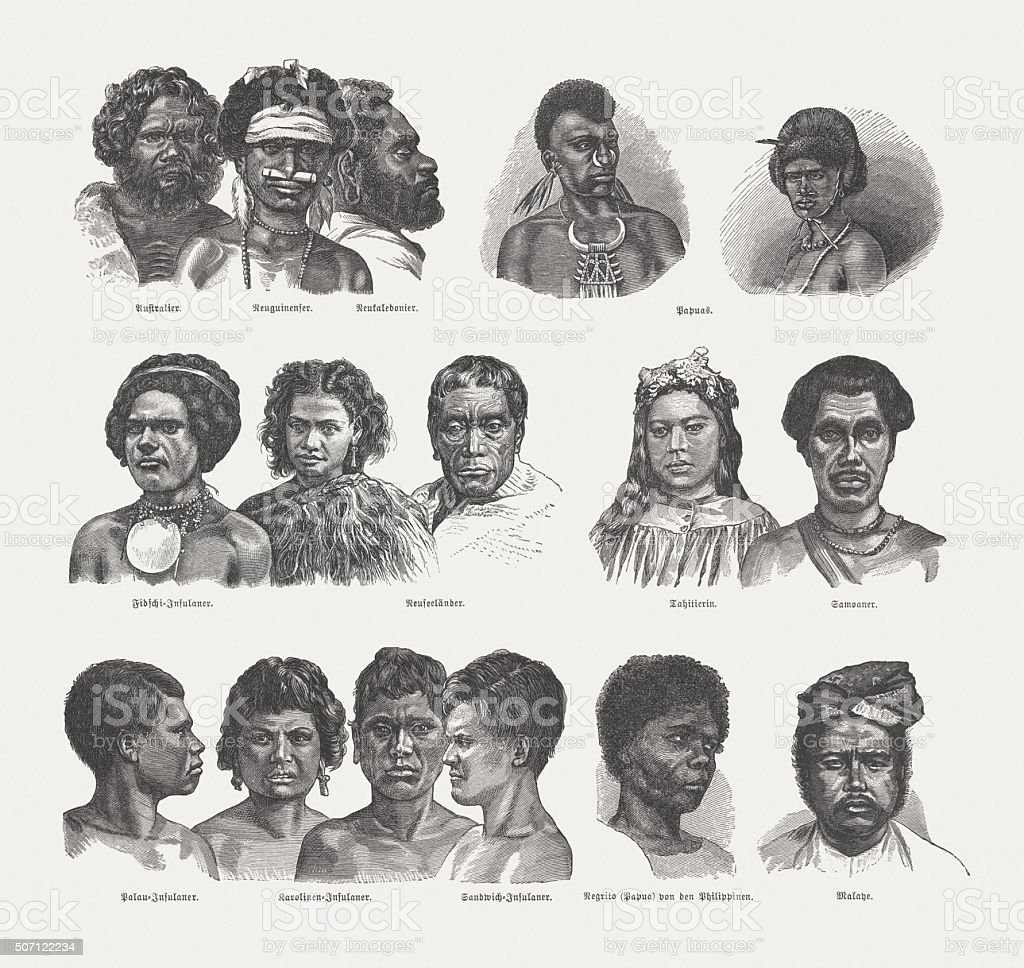 Native people of the South Sea Islands, published in 1882 vector art illustration