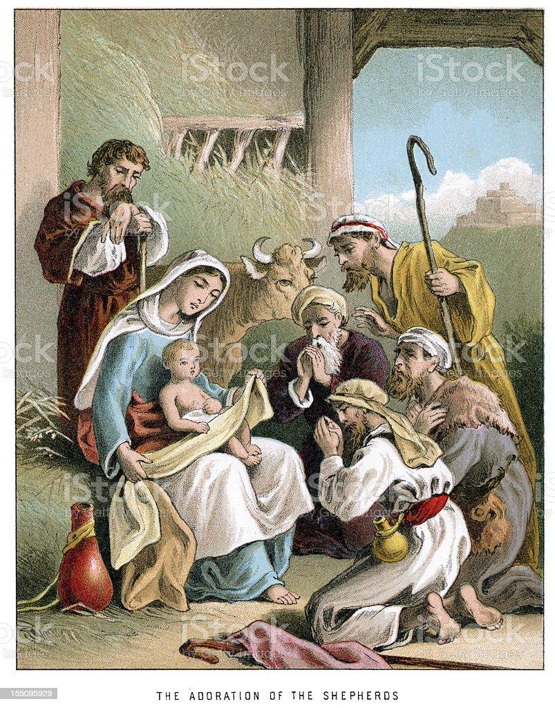 Nativity adoration of the shepherds vector art illustration