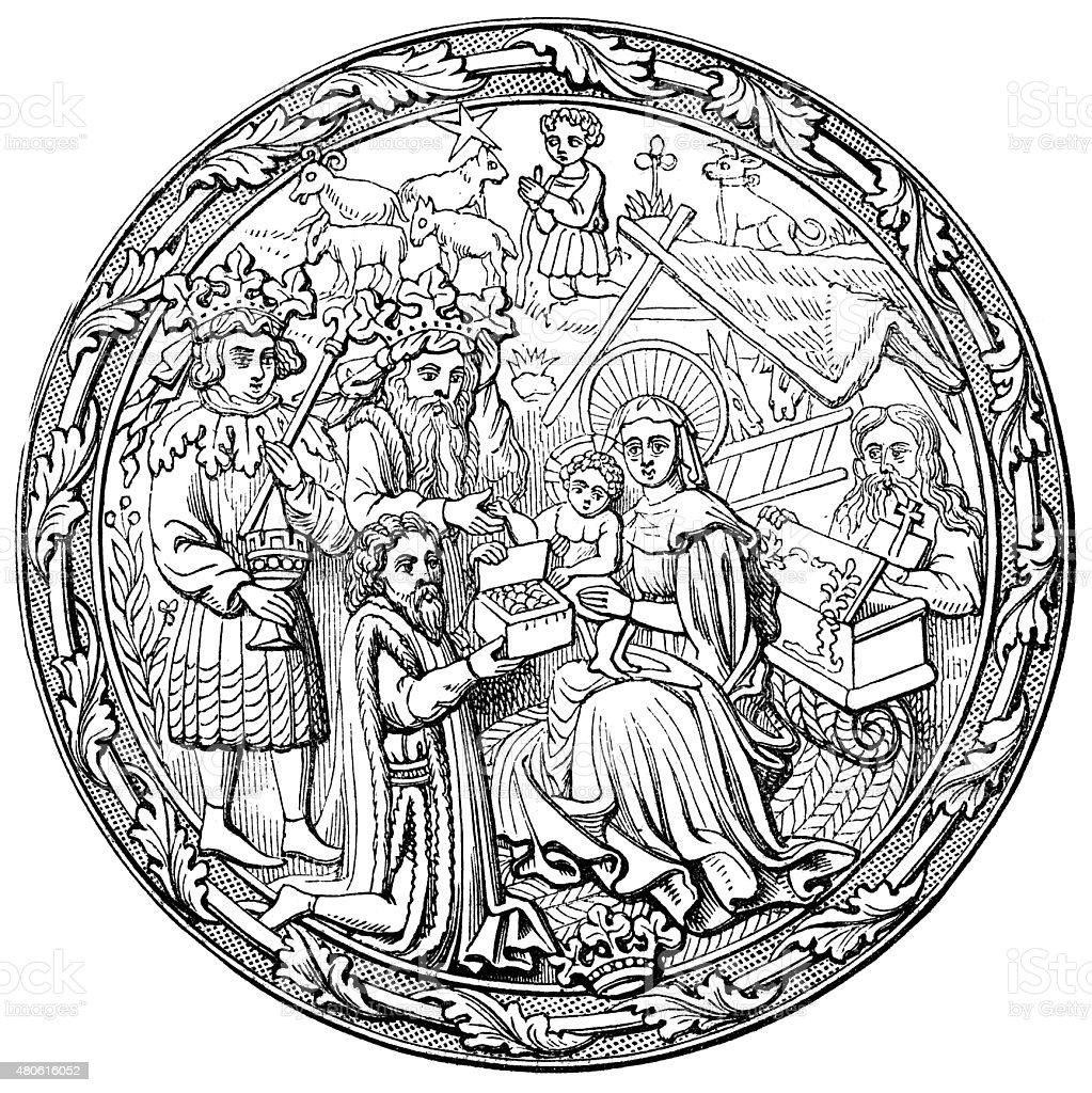 Nativity of Jesus Christ vector art illustration