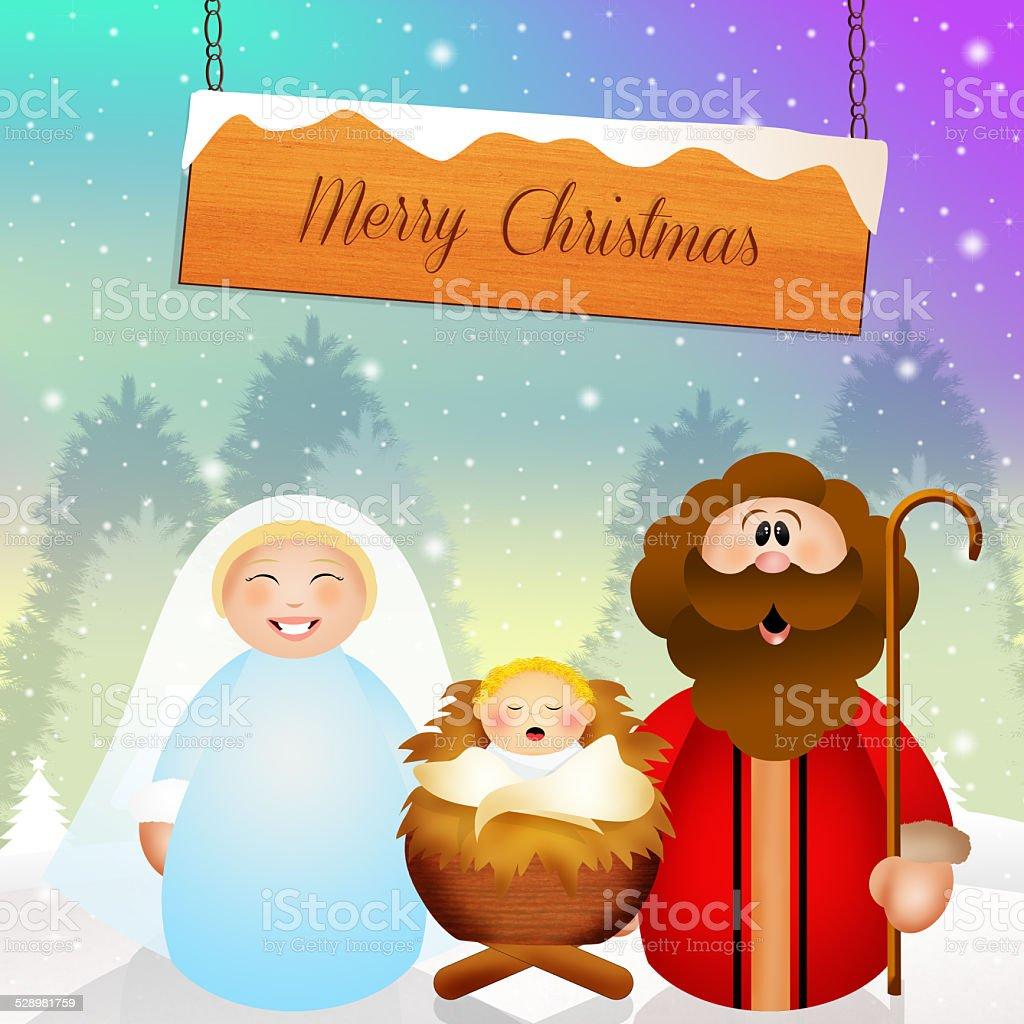 Nativity scene cartoon vector art illustration