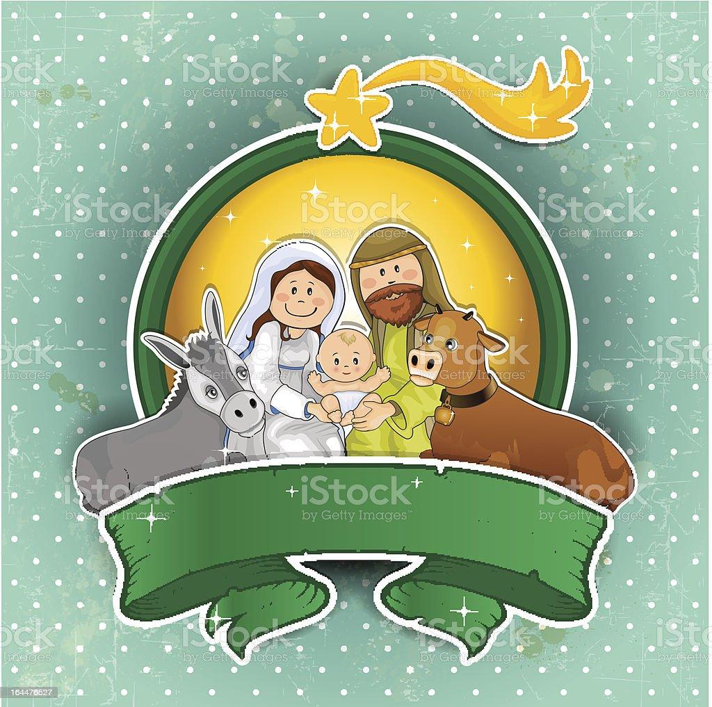 Nativity scene icon turquoise ground royalty-free stock vector art