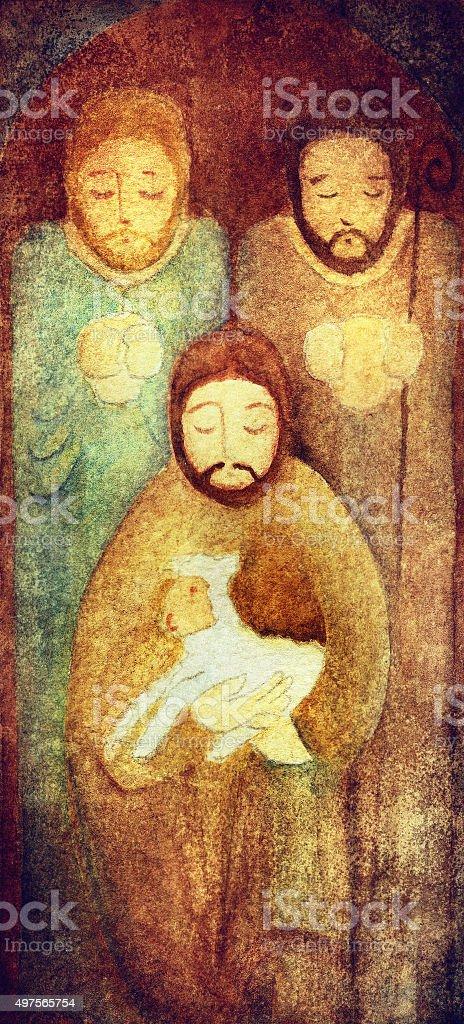 Nativity Scene Shepherds vector art illustration
