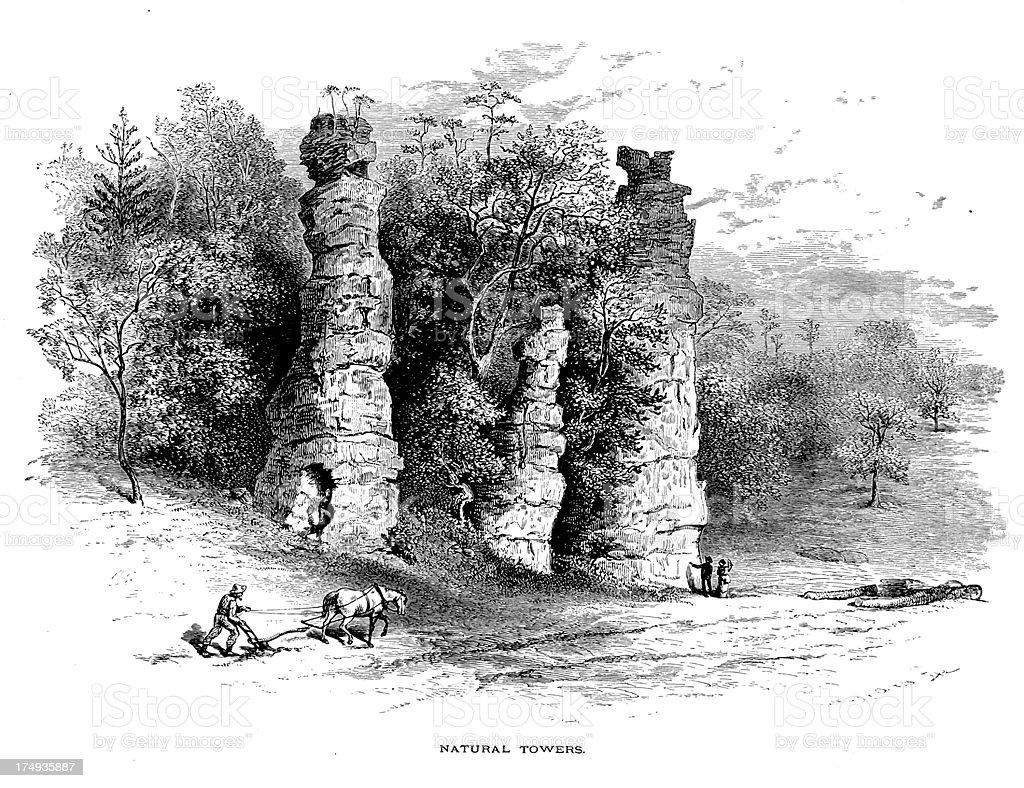 Natural Chimneys, Virginia royalty-free stock vector art