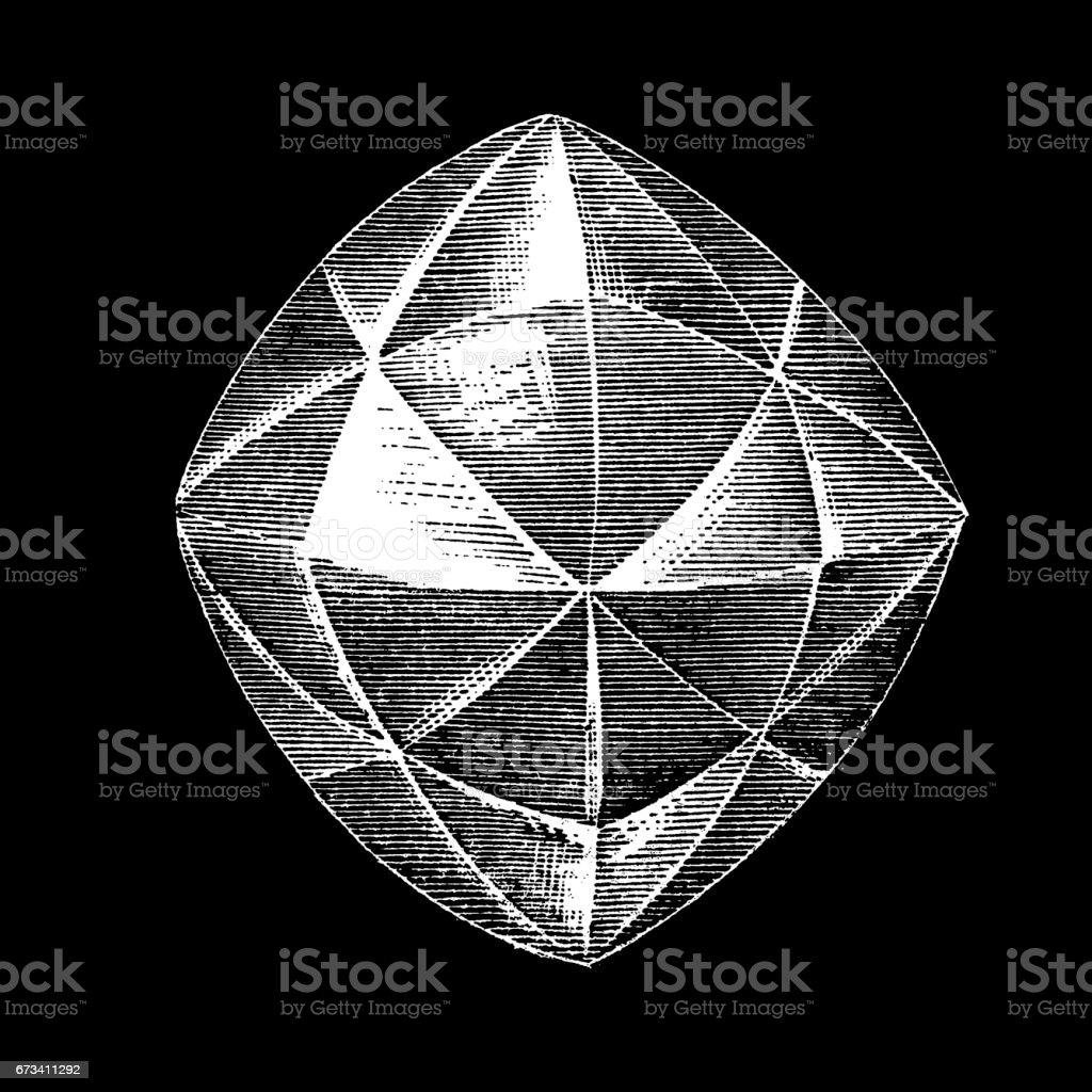 Natural crystal forms of the diamond vector art illustration