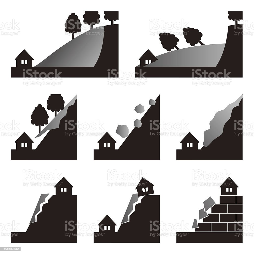 Natural disasters. Landslide. Icon vector art illustration