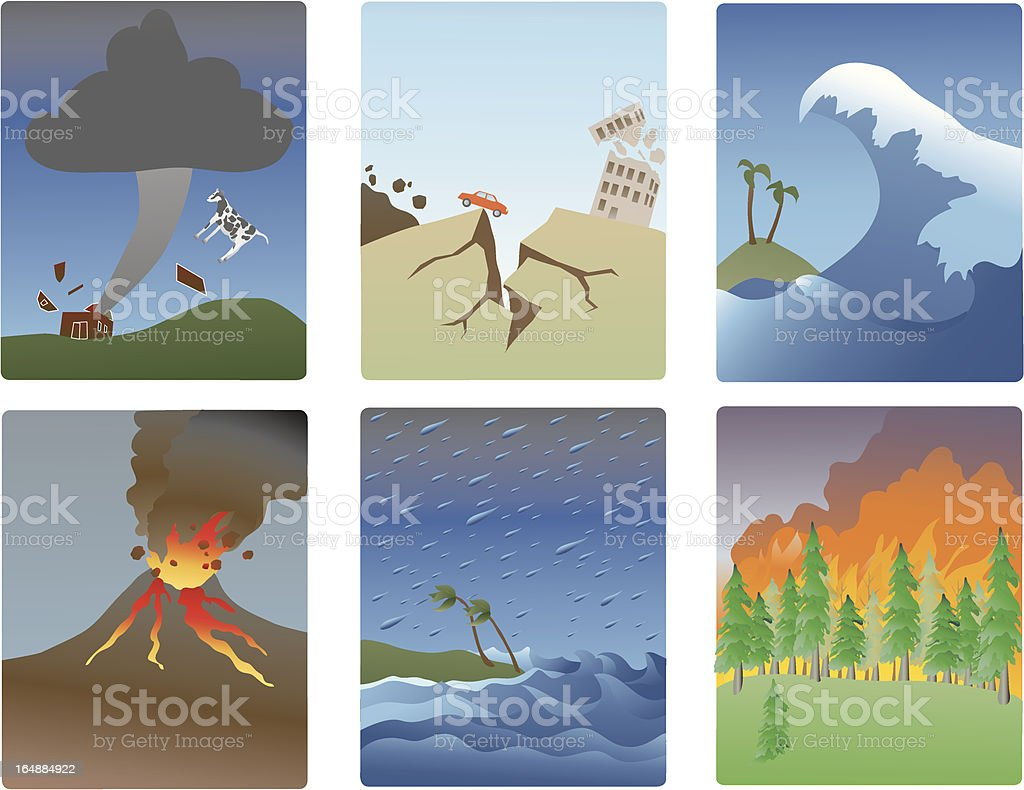 Natural Distasters vector art illustration
