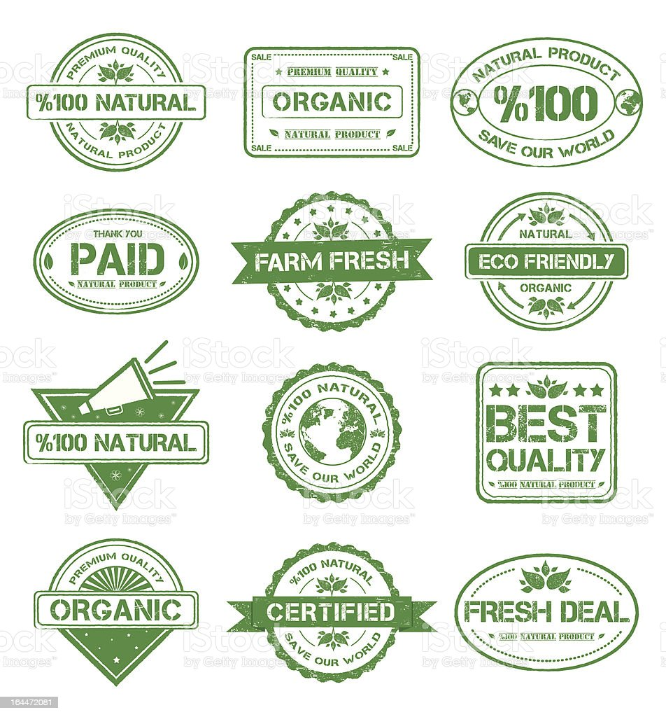 Natural Stamp Style Badges royalty-free stock vector art