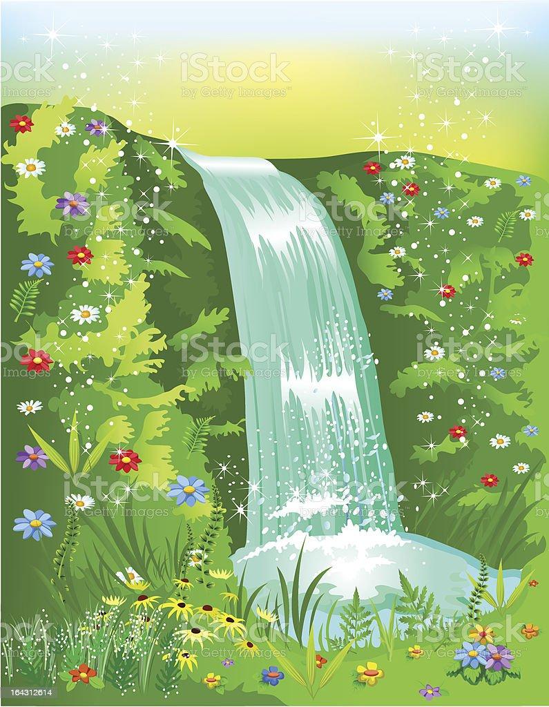 natural waterfall royalty-free stock vector art