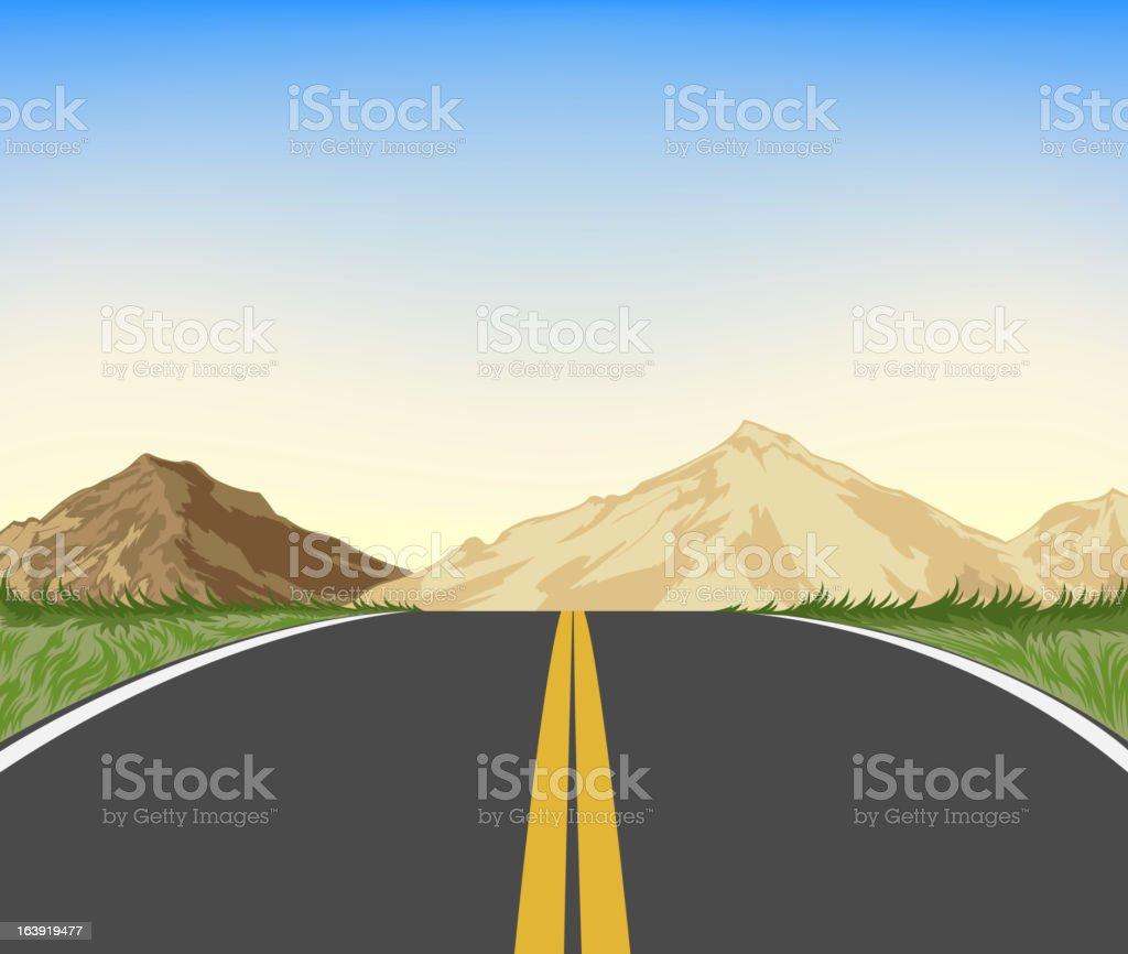 Nature and highway landscape vector art illustration